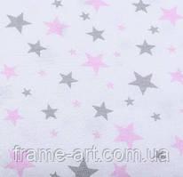 """Хлопковая ткань (бязь) 160см №983 """"Звездная россыпь"""" розово-серая на белом фоне"""