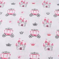 Хлопковая ткань (бязь) 160см №2657 Розовые кареты и замки на белом фоне