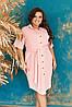 Оригинальное летнее платье-рубашка со вставками кружева и пояском, батал и супер батал большие размеры, фото 8
