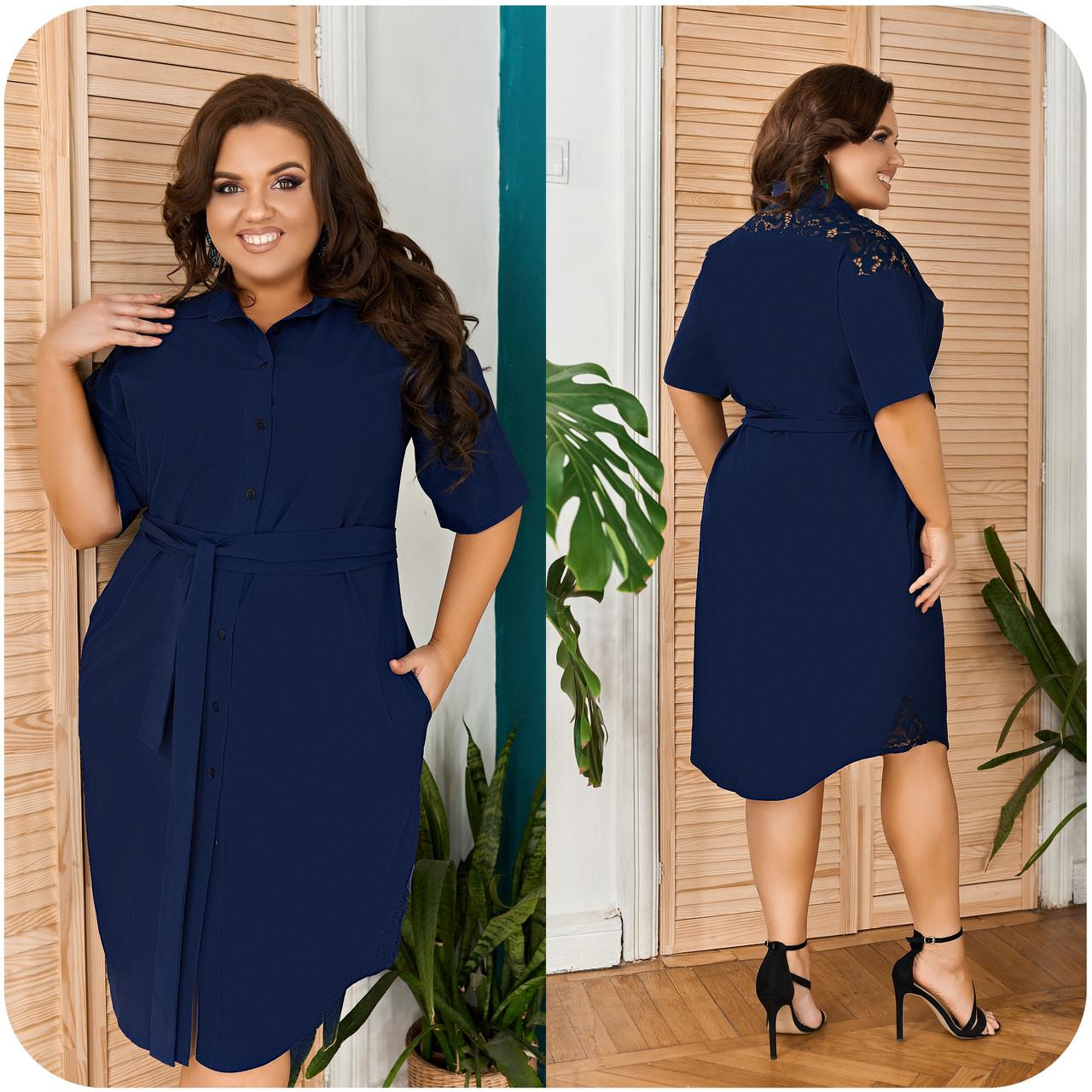 Оригинальное летнее платье-рубашка со вставками кружева и пояском, батал и супер батал большие размеры