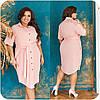 Оригинальное летнее платье-рубашка со вставками кружева и пояском, батал и супер батал большие размеры, фото 3