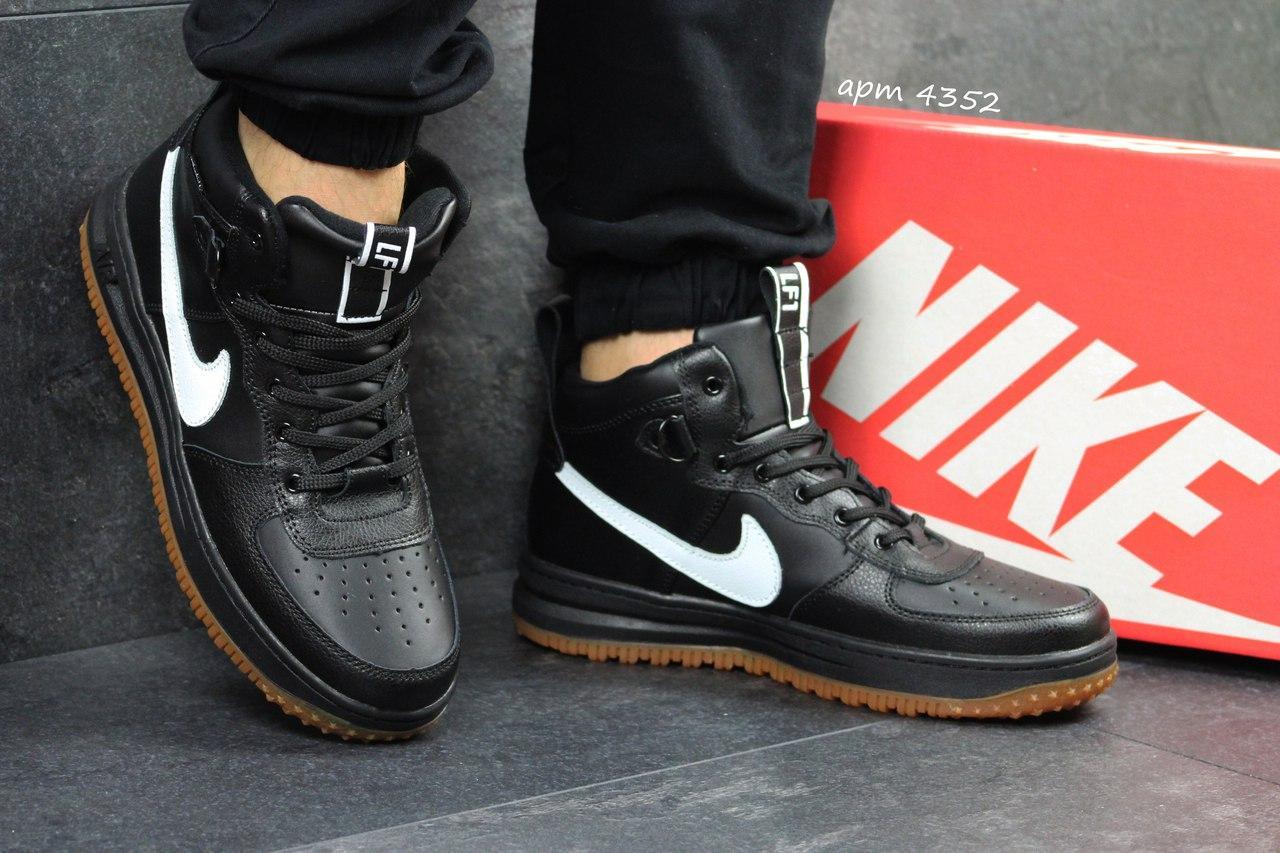 Мужские кроссовки высокие черные натуральная прессованная кожа
