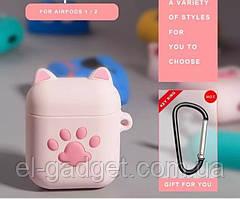 Чехол футляр для наушников AirPods Лапка розовая силиконовый