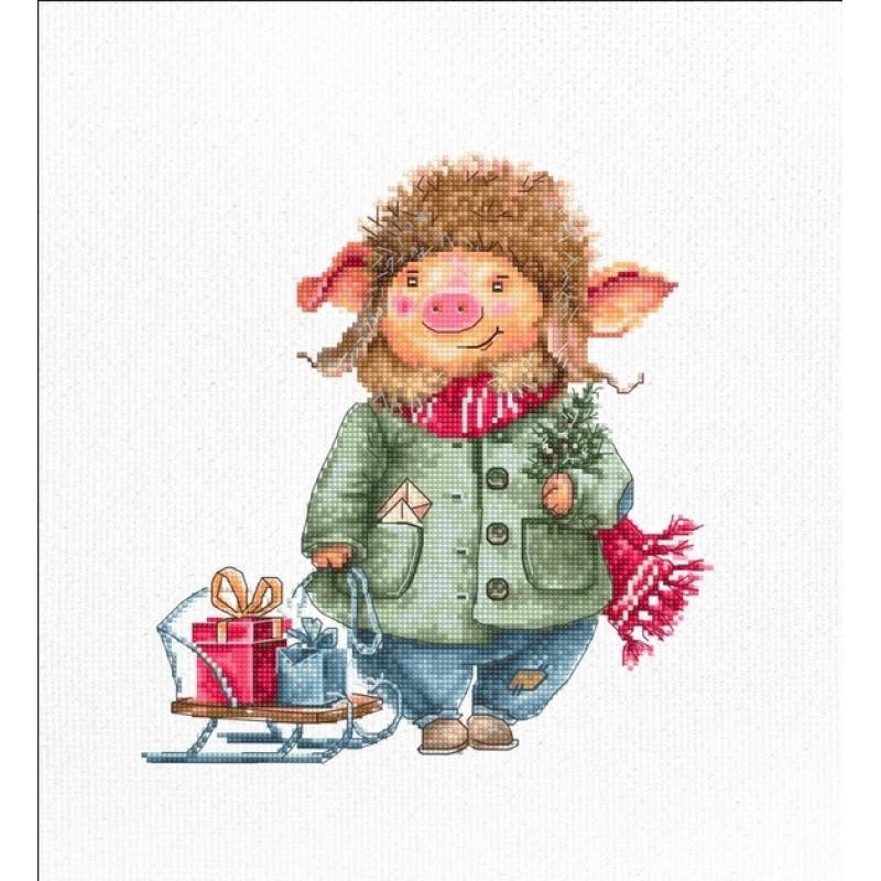 Наборы для вышивания крестом Luca S Детская Рождественская свинья