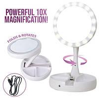 Зеркало косметическое настольное с подсветкой, Настольное LED зеркало,Зеркало для макияжа с увеличением