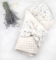 Конверт на выписку для новорожденных в роддом летний демисезонный плюшевый Минки двухсторонний