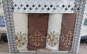 Махровые полотенца в подарочной коробке 2 лицевых и 2 банных (Турция)