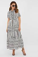Летнее платье 2020 женское цвет:белый-черная полоса1 размер:S, M, L, XL