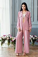 Летний женский брючный костюм красивый модный 2020 пудра размер:42, 44, 46, 48