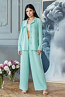 Летний женский брючный костюм красивый модный 2020 мята размер:42, 44, 46, 48