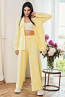 Летний женский брючный костюм красивый модный 2020 желтый размер:42, 44, 46, 48