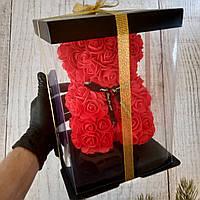 Мишка из 3D роз 25 см в подарочной упаковке, из роз, оригинальный подарок для девушки красный (живые фото)