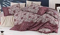 Комплект постельного белья Nazenin Margarita Bordo Евро Сатин 200х220 см Бежевый psgSA-3407, КОД: 944346