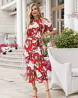 Летнее платье 2020 женское цвет:красный размер:L, XXL, 3XL