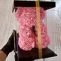 Мишка из 3D роз 25 см в подарочной упаковке, из роз, оригинальный подарок для девушки розовый (живые фото)