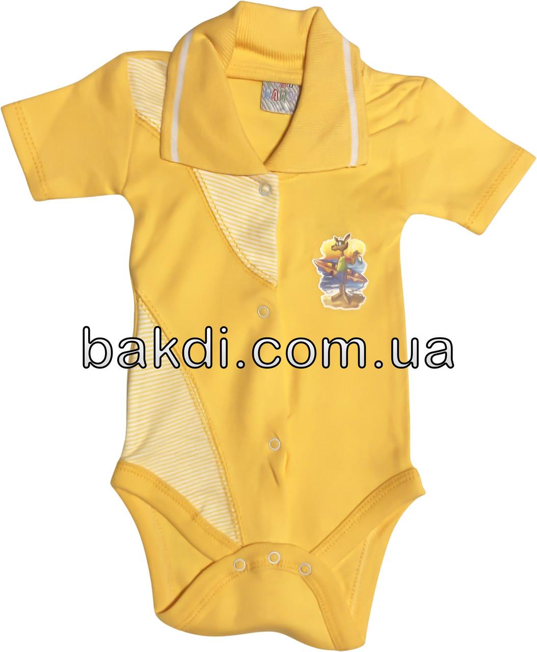 Детское летнее боди рост 74 6-9 мес трикотажное оранжевое на мальчика девочку бодик с коротким рукавом для новорожденных малышей ТО200