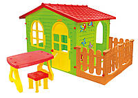 Дитячий ігровий будиночок Mochtoys столик + тераса + табурет 11541