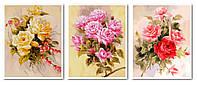 Картины по номерам 50х120 см. Триптих Розы