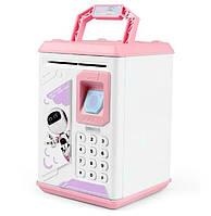 Электронный сейф копилка Robot Bodyguard с отпечатком пальца Бело-розовый 101255, КОД: 1709087