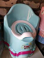 Горшок детский с крышкой высокая спинка Турция Comfort Dunay 11111  голубой