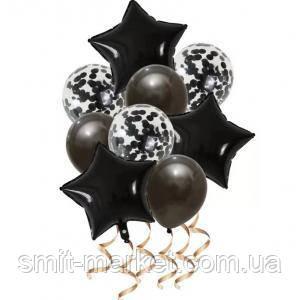 Набор шариков со звёздами (уп.9шт.) черный, фото 2