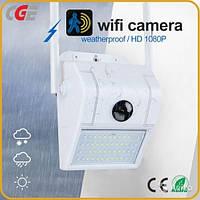 Уличная камера видеонаблюдения  Wifi Wall Lamp IP Camera  с Led прожектором Белая, вайфай камера, фото 1