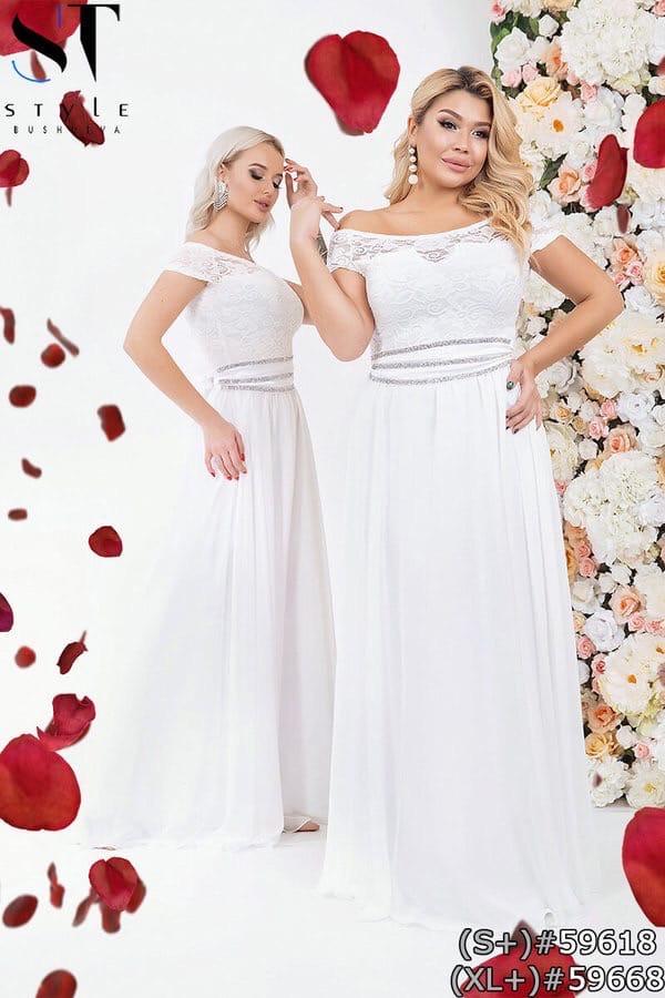 Платье макси с гипюром и шифоном большие размеры