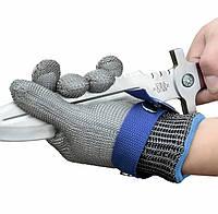 Перчатка кольчужная плетеная с нержавеющей стали. Защита рук от царапин и порезов. Anticut glove