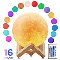 Улучшенный настольный светильник Луна Moon Night Light 15 см с ПУЛЬТОМ 16 цветов / детский ночник (Живые фото)