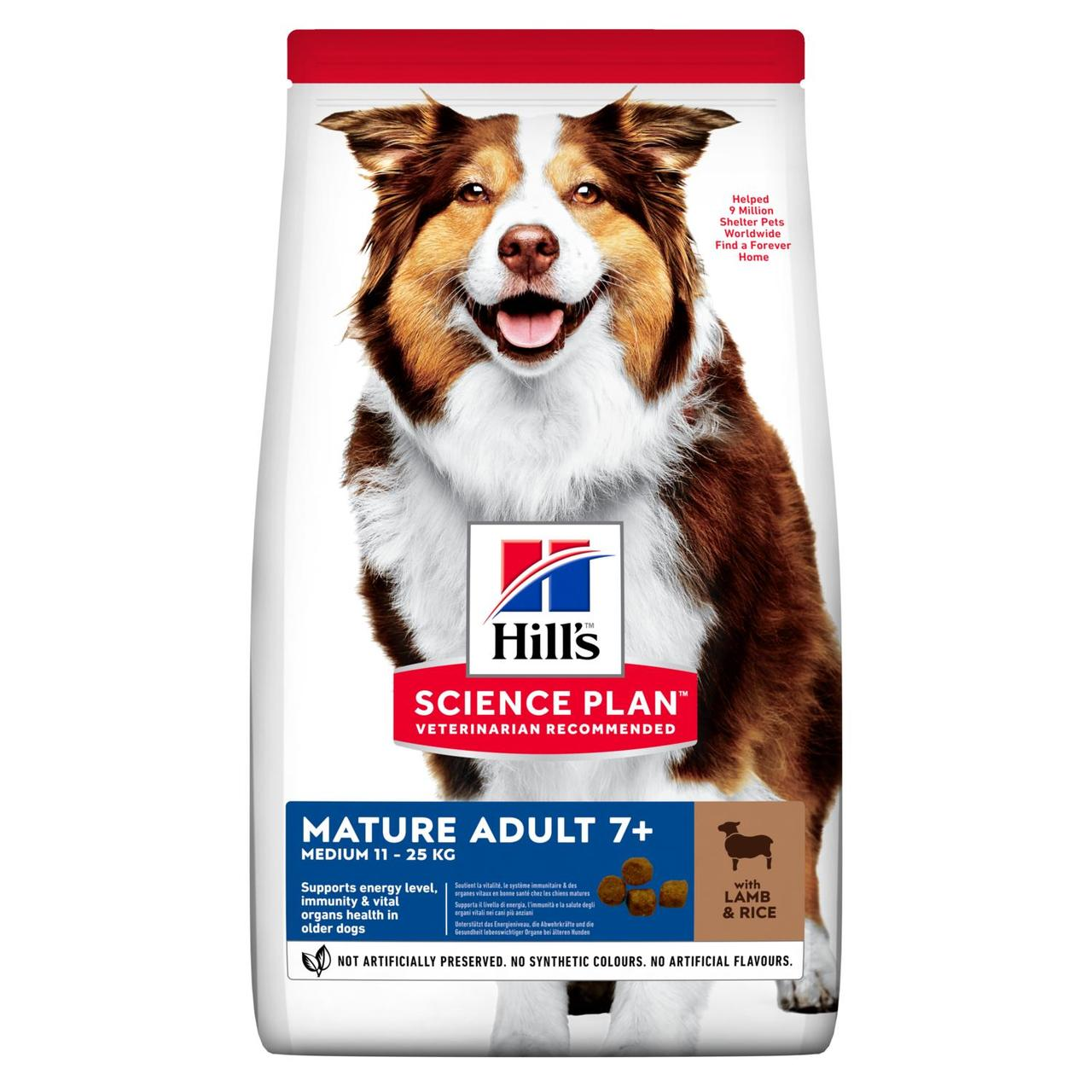 Hills (Хиллс) Mature Adult 7+ Medium Breed Lamb & Rice сухой корм для стареющих собак с ягненком, 14 кг