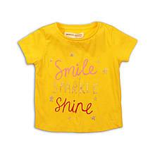 Детская желтая футболка для девочки 1-1.5 года 80-86 см