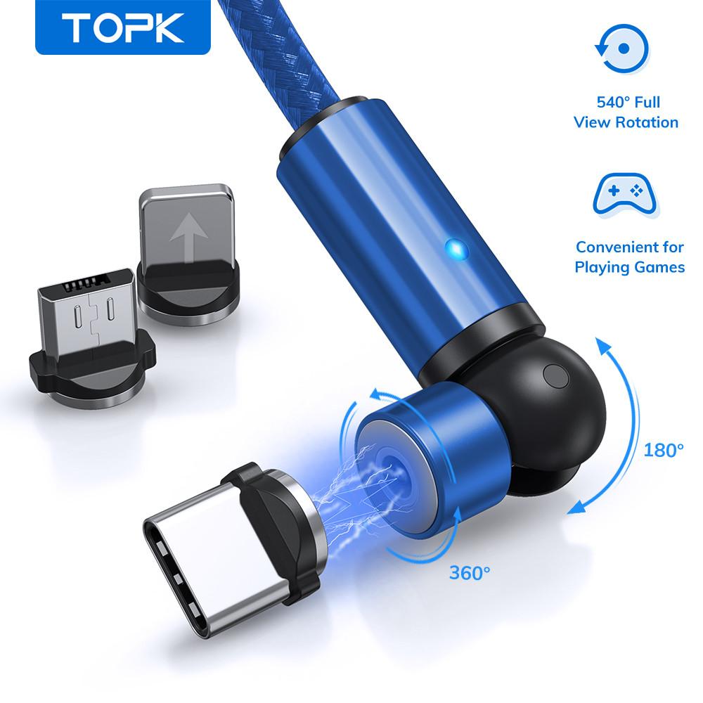 Магнитный кабель для зарядки TOPK AM68 LED 1m 2.4A TypeC вращающийся на 360°. Синий