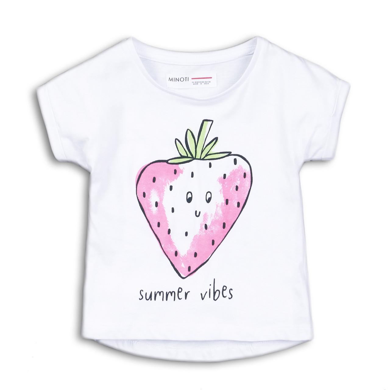 Детская белая футболка для девочки 9-12 месяцев
