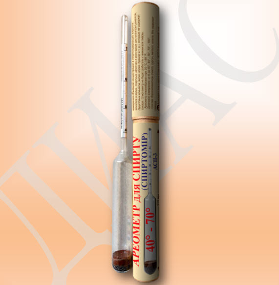 Спиртометр (ареометр для спирта) АСП-3 от 40-70%