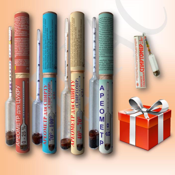 Набор профессиональных ареометров (спиртометров) АСП-3 - 0-40%; 40-70%; 70-100% + Сахаромер АС-3 0-25%