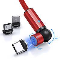 Магнитный кабель для зарядки TOPK AM68 LED 1m 2.4A MicroUsb вращающийся на 360°. Красный