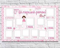 Плакат 12 месяцев Little Princess 75×120см укр