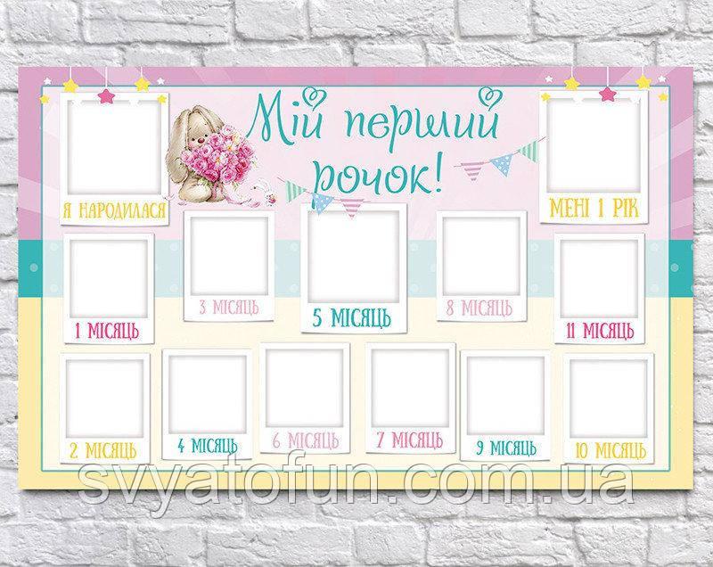 Плакат 12 месяцев Зайка Ми 75×120см укр