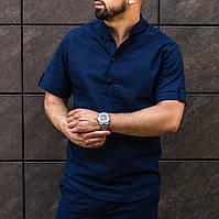 Рубашка мужская с коротким рукавом льняная летняя темно-синяя   ЛЮКС качества