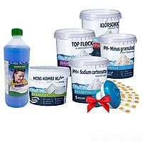 Химия для бассейна«Аква Набор MINI 8в1» IntexPool 80521, для бассейнов до 366 (тесты, pH-, pH+, MINI хлор, поплавок, альгекс топ, шок хлор, флокулянт)