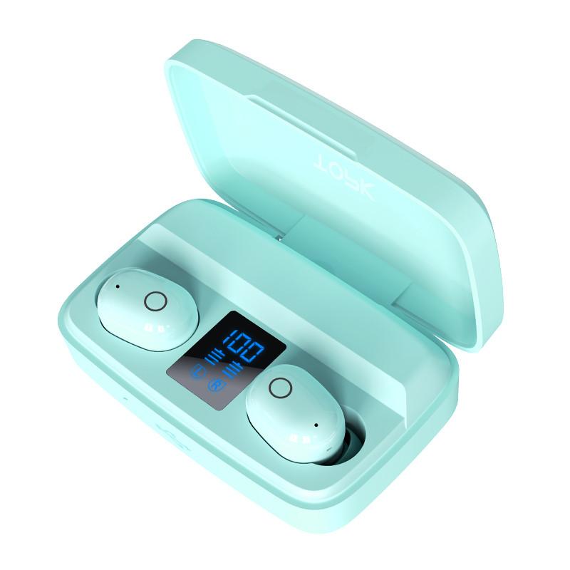 Беспроводные наушники с повербанком Topk T10 c уровнем заряда. Bluetooth 5.0.  PowerBank 2000 мАч. Ментол