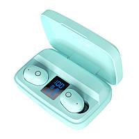 Беспроводные наушники с повербанком Topk T10 c уровнем заряда. Bluetooth 5.0.  PowerBank 2000 мАч. Ментол, фото 1