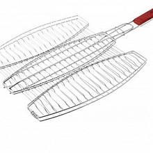 Решетка нержавеющая овальная для гриля - барбекю для 3ёх рыб 400*370 мм (шт)
