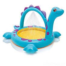 Детский надувной бассейн Intex 57437 «Динозавр», 230 х 165 х 117 см, с фонтаном