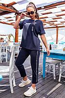Современный женский костюм Больших Размеров, арт 401, цвет тёмно синий / синего цвета