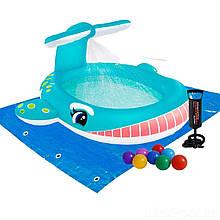 Детский надувной бассейн Intex 57440-2 «Кит», 201 х 196 х 91 см, с фонтаном, с шариками 10 шт, подстилкой, насосом