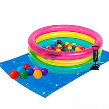 Детский надувной бассейн Intex 48674-2, 86 х 25 см, с шариками 50 шт, подстилкой, насосом