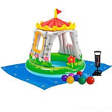 Детский надувной бассейн Intex 57122-2 «Королевский Замок», 122 х 122 см, с шариками 10 шт, подстилкой, насосом