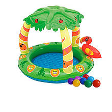 Детский надувной бассейн Bestway 52179-1 «Джунгли», 99 х 91 х 71 см, с шариками 10 шт