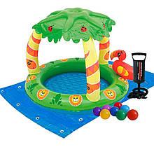 Детский надувной бассейн Bestway 52179-2 «Джунгли», 99 х 91 х 71 см, с шариками 10 шт, подстилкой, насосом